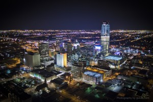 OKC Skyline at night with Devon Tower
