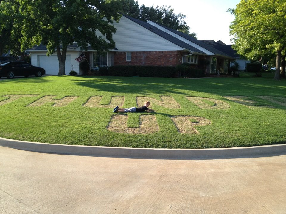 Oklahoma City Thunder lawn mowed
