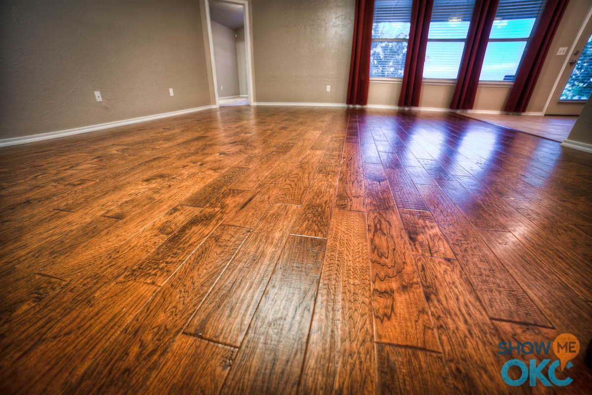Closeup of gorgeous hand scraped hardwood floors showmeokc Homes with hardwood floors pictures